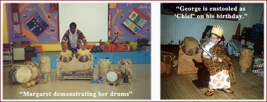 drum equipment and traditional african dress